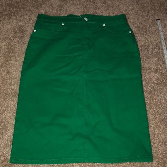21535a1be Junee Skirts | Kelly Green Jean Skirt | Poshmark